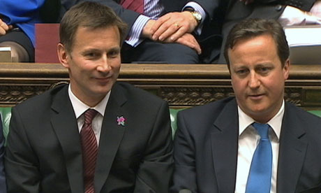 Jeremy Hunt and David Cameron in the Commons